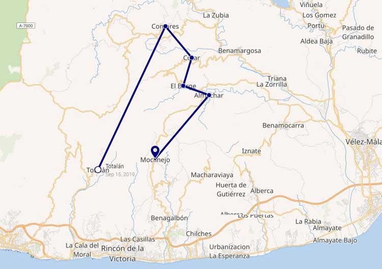 Rozijnenroute kaart Axarquia